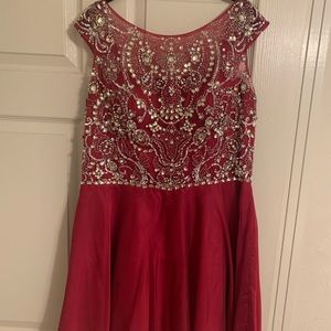 Sherri hill short beaded homecoming dress pink red